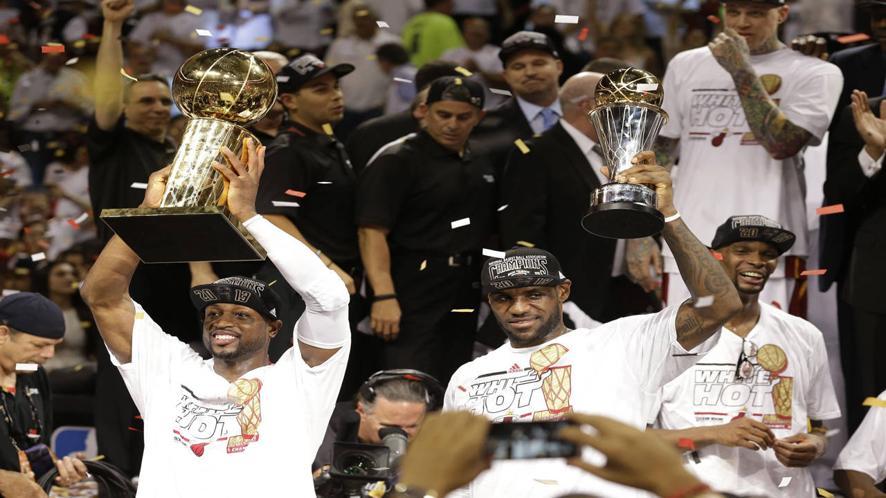 Dwyane Wade, LeBron James and Chris Bosh celebrate 2013 NBA championship with Miami Heat