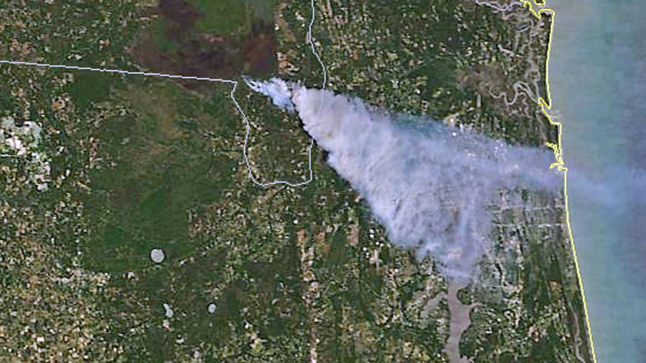 Okenfenokke wildfire Satelitte-image