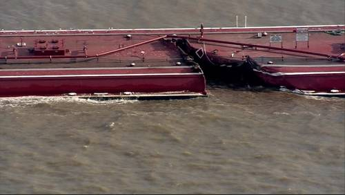 Cleanup underway after ship collides with barges in Houston Ship Channel