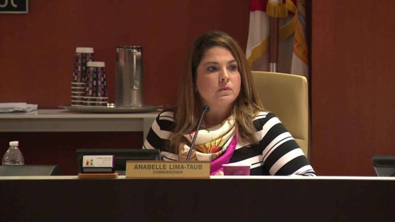 Hallandale Beach Commissioner Anabelle Lima-Taub at meeting to censure her