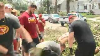 Iowa State football players help with tornado cleanup