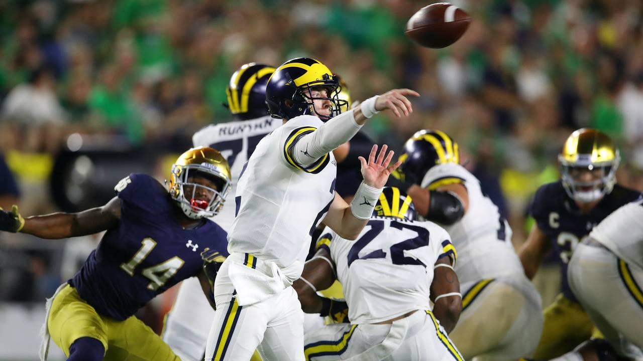 Shea Patterson pass Michigan football vs Notre Dame 2018